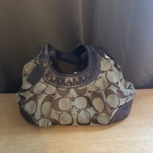 Used Coach jacquard and leather bag